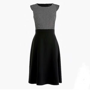 NWT J. Crew A-line combo dress in pindot
